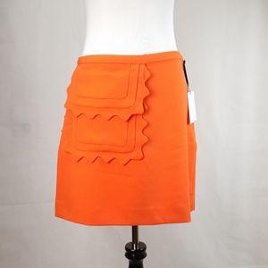 VICTORIA BECKHAM Scalloped Bright Orange skirt